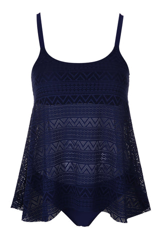 #A478# Navy Blue All Over Lace Tankini Set* - Cobunny