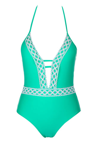 A522# Green Deep Plunge Lace Backless Halter One Piece Swimsuit * - Cobunny