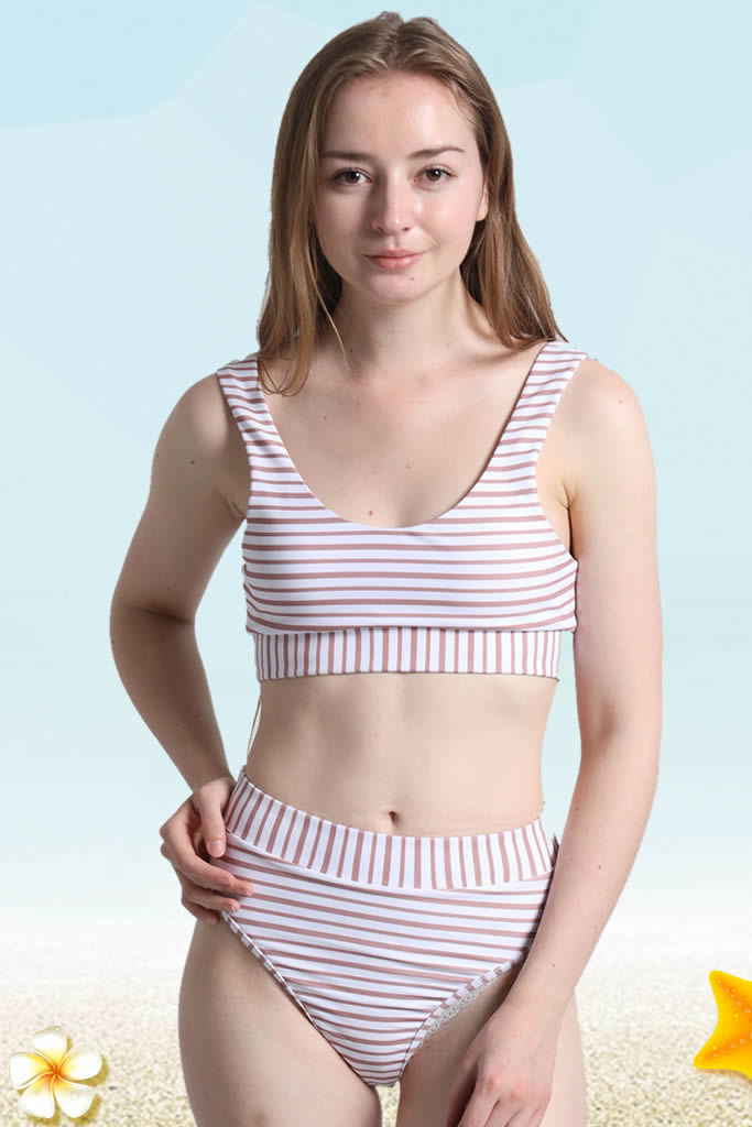 A206# Brown Alternating Striped Crop Tank High Waist Bikini Set * - Cobunny
