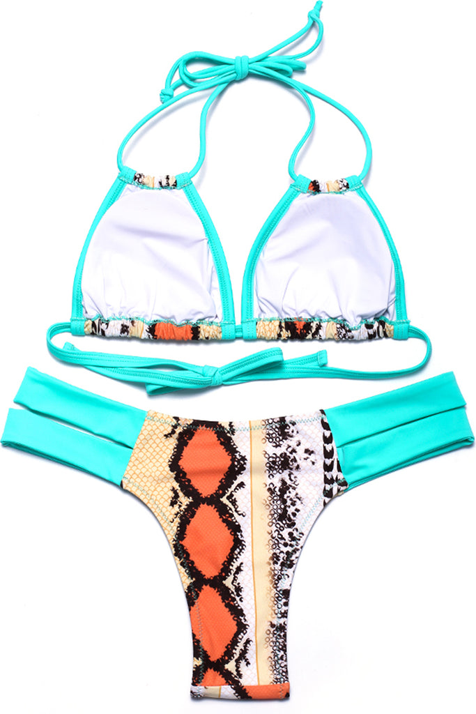 Snake Print Contrast Color Cut Out Triangle Halter Bikini Set - Cobunny