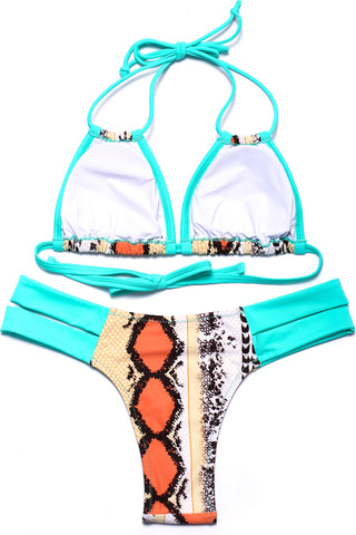 ZH004# Snake Print Contrast Color Cut Out Triangle Halter Bikini Set * - Cobunny