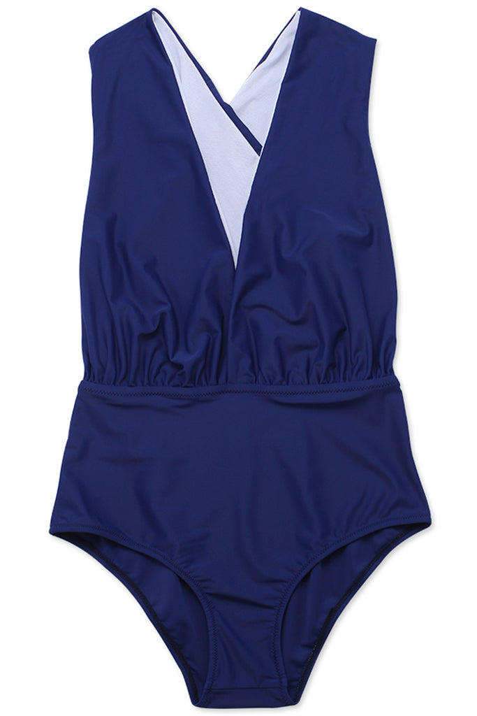 FB557# Blue Ruched Deep Plunge Cross Back One Piece Swimsuit * - Cobunny