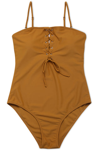 FB545# Tan Solid Crisscross Lace Up Bandeau High Cut One Piece Swimsuit * - Cobunny