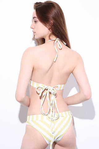 A458# Yellow Striped Strappy Lace Up Wrap Halter Bikini Set * - Cobunny