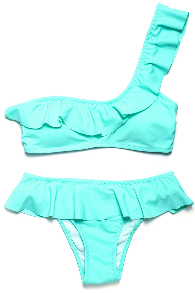 FB866# Solid Ruffle One Shoulder Bandeau Brazilian Bikini Set * - Cobunny