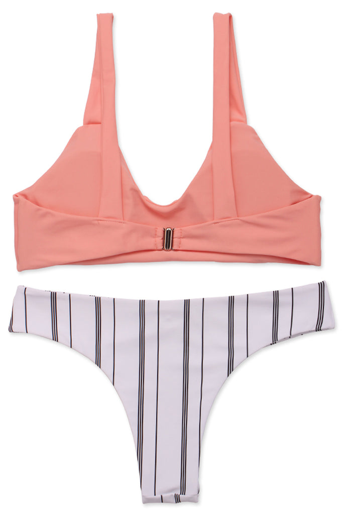 FB553# Orange Scoop Neck Bralette Top & Striped Bottom * - Cobunny