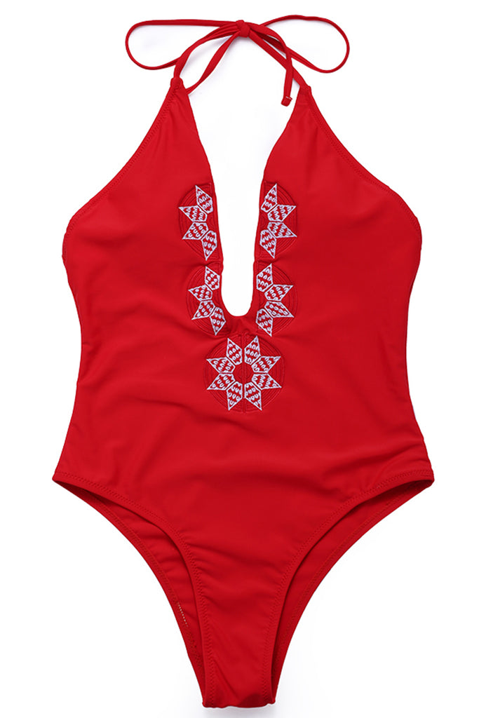 FB562# Red Embroidered Deep Plunge Backless One Piece Bikini Set * - Cobunny