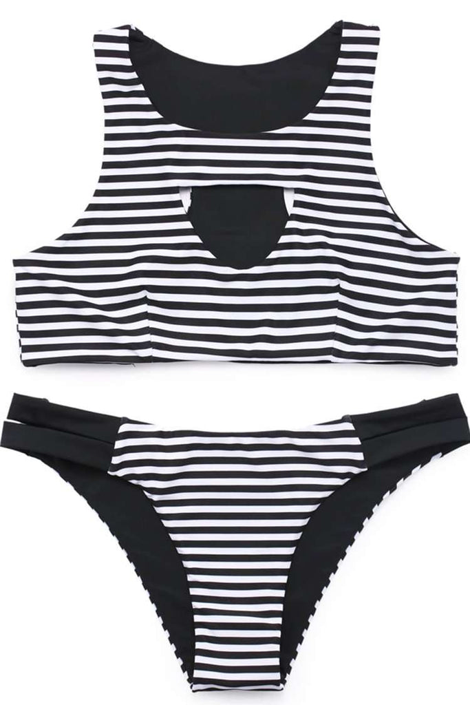 FB547# Black & White Striped Cut Out Racerback Tank Bikini Set * - Cobunny