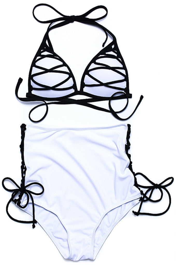 FB998# Crisscross Lace Up Strappy Triangle Halter High Waist Bikini Set * - Cobunny