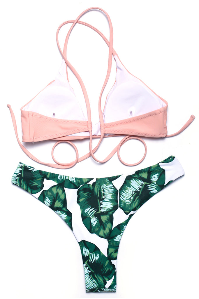 Green Leaf Bottom & Pink V Neck Top - Cobunny