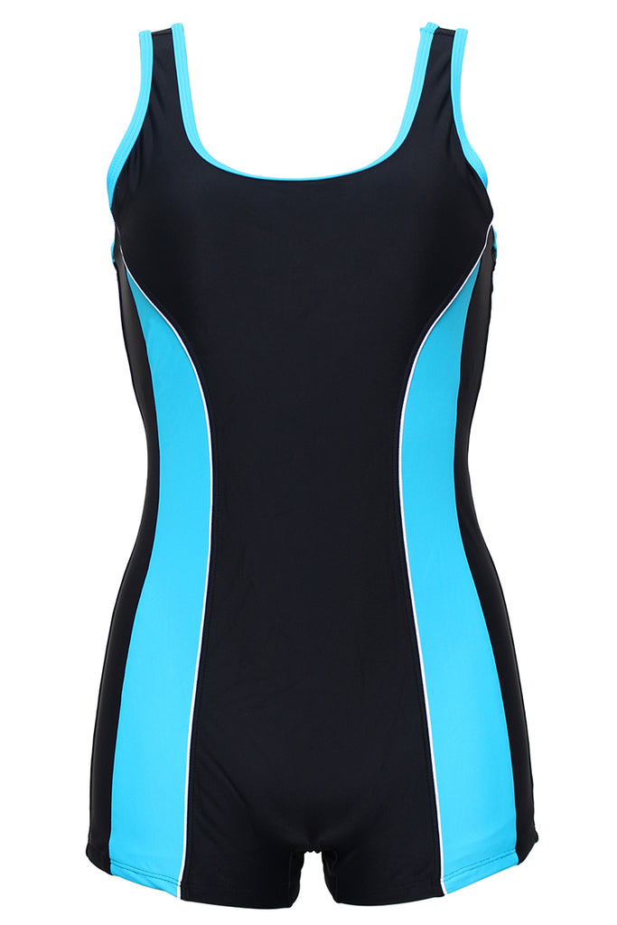 FB982# Skyblue & Black Tank Boyleg One Piece Swimsuit * - Cobunny