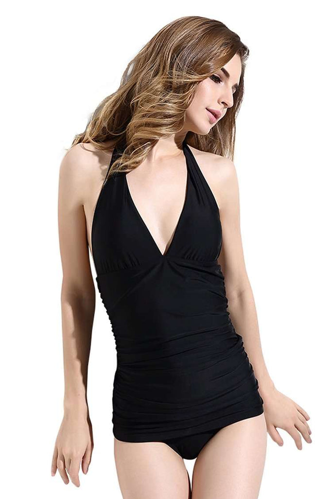 FB970# Black Solid Ruched Plunge Backless Halter One Piece Swimsuit * - Cobunny