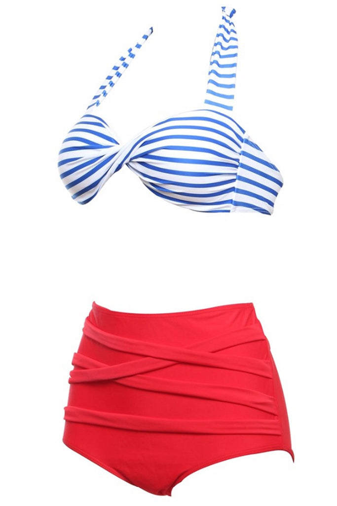 FB957# Blue Stripe Push Up Top & Red High Waist Bottom * - Cobunny