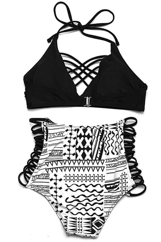 FB993# Black & White Tribal Print Strappy Bralette High Waist Bikini Set * - Cobunny