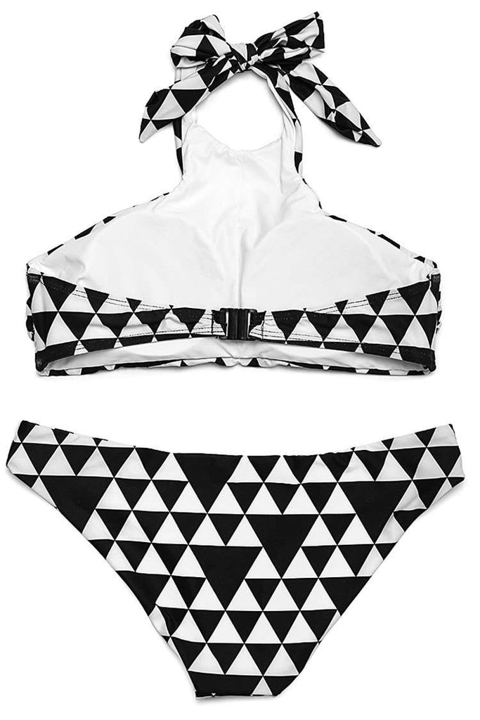 FB969# Black & White Triangle Pattern Print High Neck Halter Bikini Set * - Cobunny