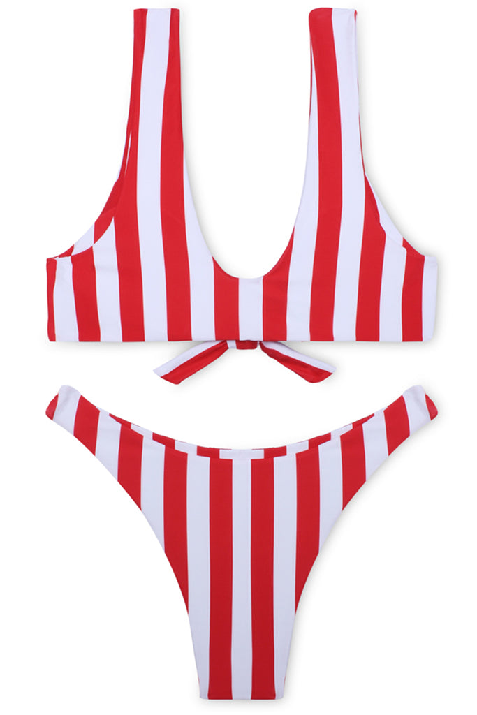 FB575# White & Red Stripped Tie Front Crop Tank Thong Bikini Set * - Cobunny