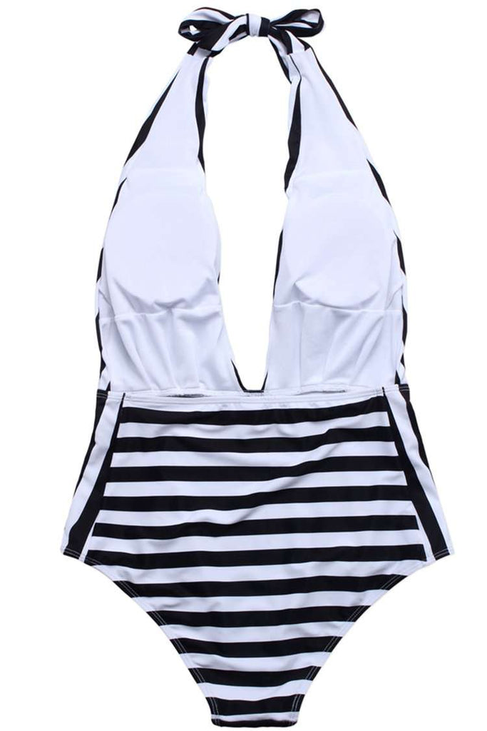 A288# Black & White Striped Deep Plunge Backless Halter One Piece Swimsuit * - Cobunny