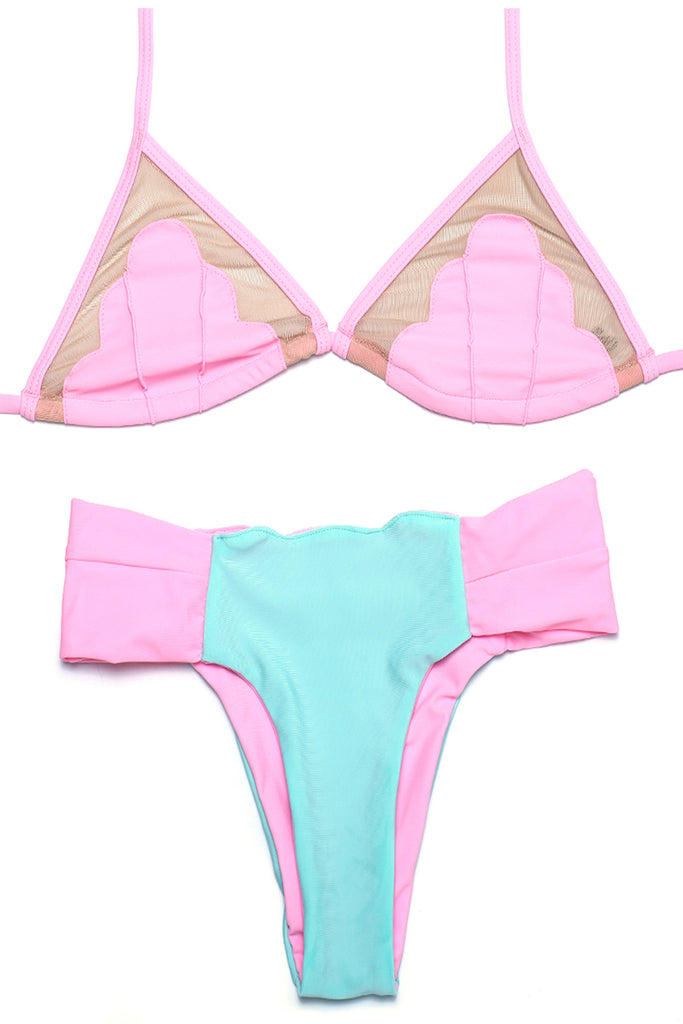 FB912# Reversible Mesh Patchwork Triangle Halter Bikini Set * - Cobunny