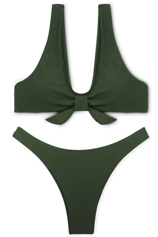 FB575# Army Green Tie Front Crop Tank Thong Bikini Set * - Cobunny