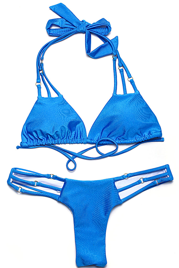 ZH005# Cut Out Triangle Halter Brazilian Bikini Set With Ring Decoration * - Cobunny