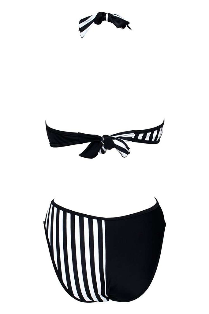 GK007# Black & White Striped Cross Wrap Halter One Piece Swimsuit * - Cobunny