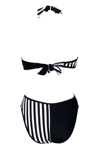 Black & White Striped Cross Wrap Halter One Piece Swimsuit - Cobunny