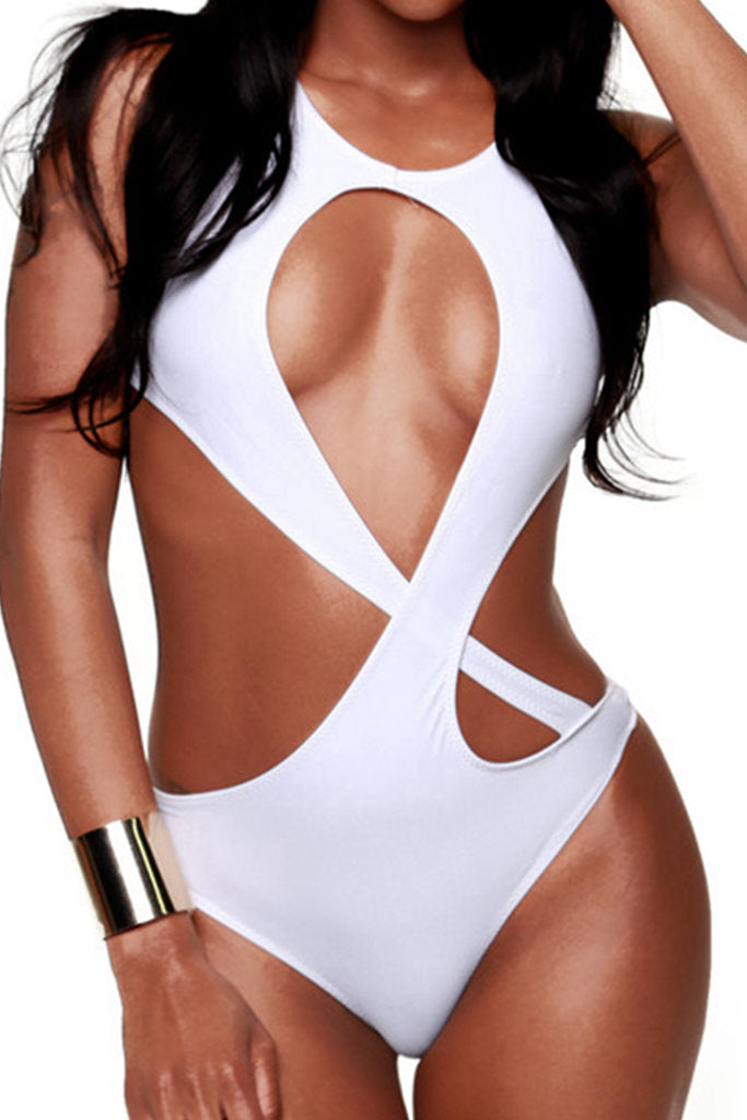FB663# White Solid Wrap Around Cut Out Halter One Piece Swimsuit * - Cobunny