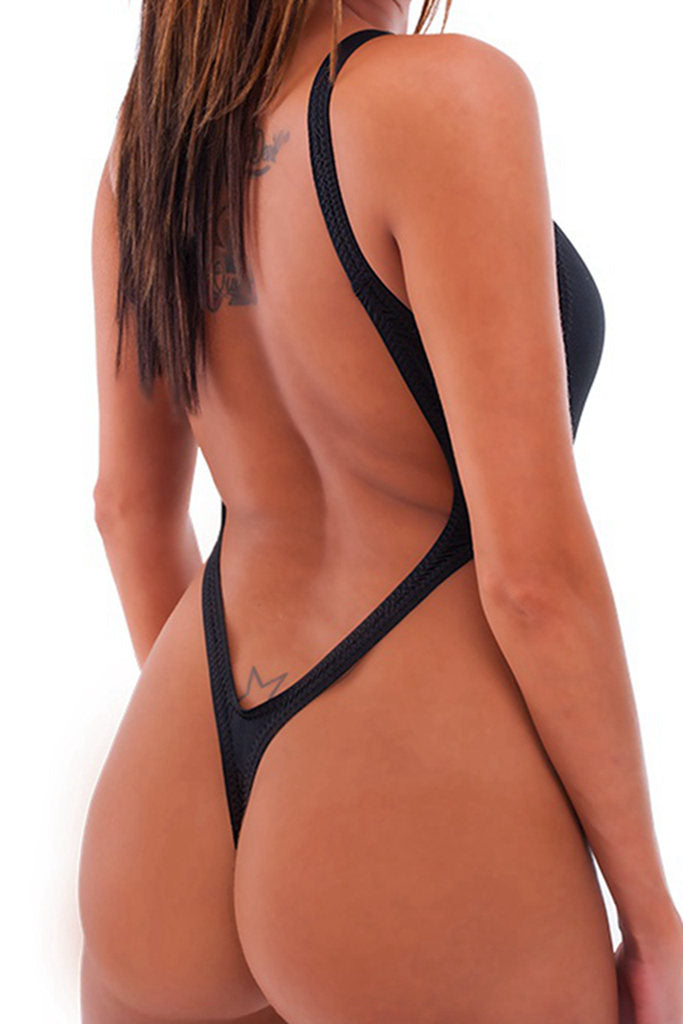FB959# Deep Scoop High Cut Thong One Piece Swimsuit *