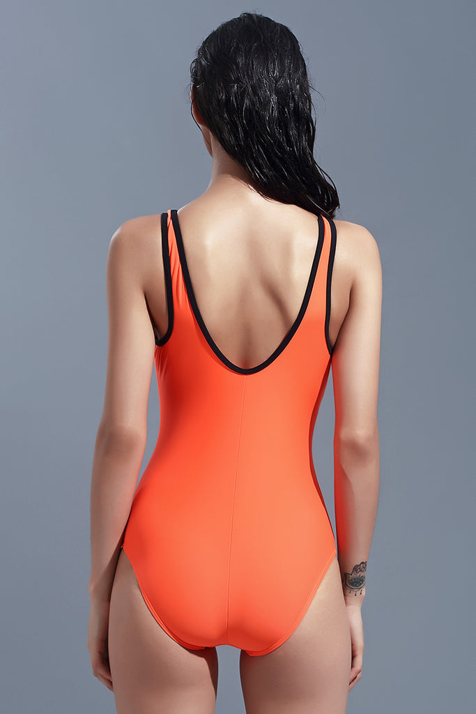 FB980# Orange & Black Contrast Trim Scoop Back Tank One Piece Swimsuit *