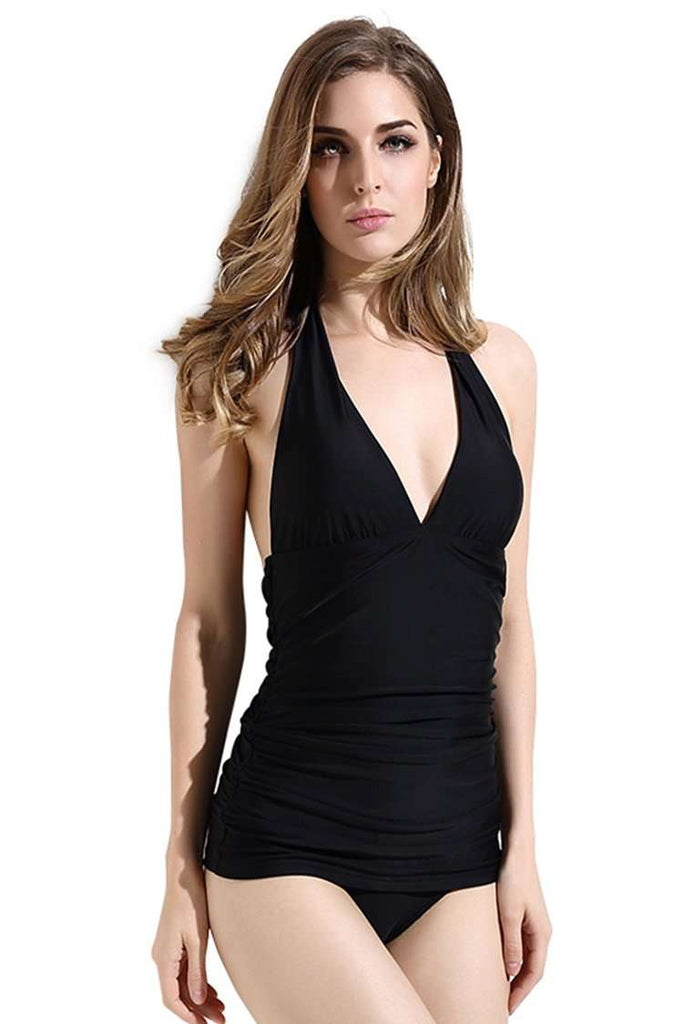 38d0701e22fa4 FB970  Black Solid Ruched Plunge Backless Halter One Piece Swimsuit ...