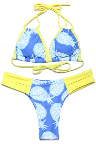 Pineapple Cut Out Triangle Halter Bikini Set - Cobunny