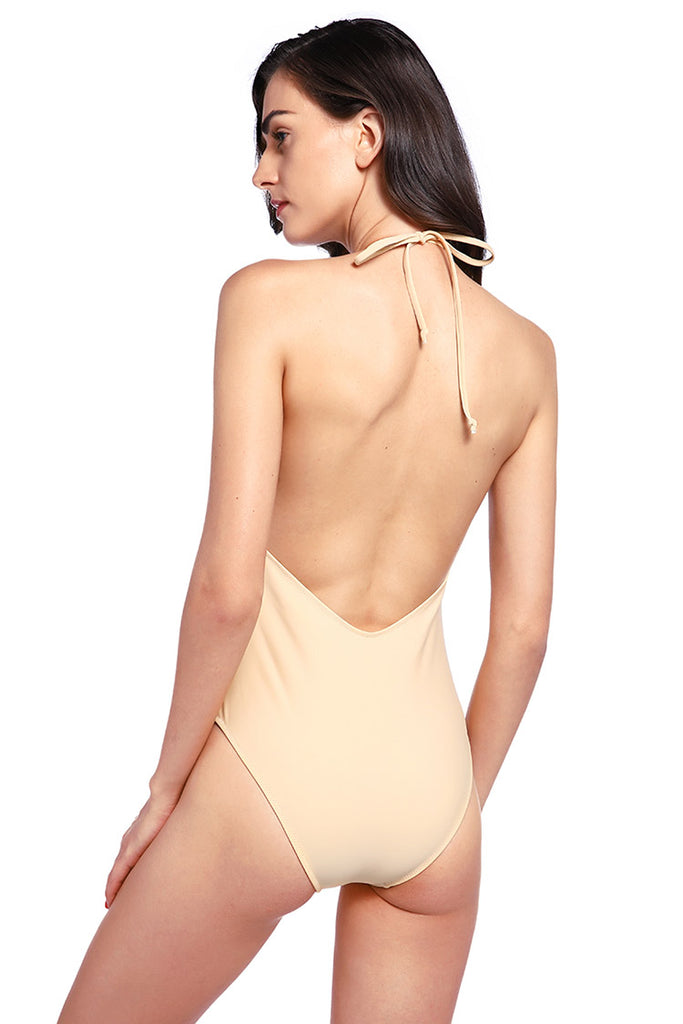 FB551# Deep Plunge Backless Halter High Cut One Piece Swimsuit * - Cobunny
