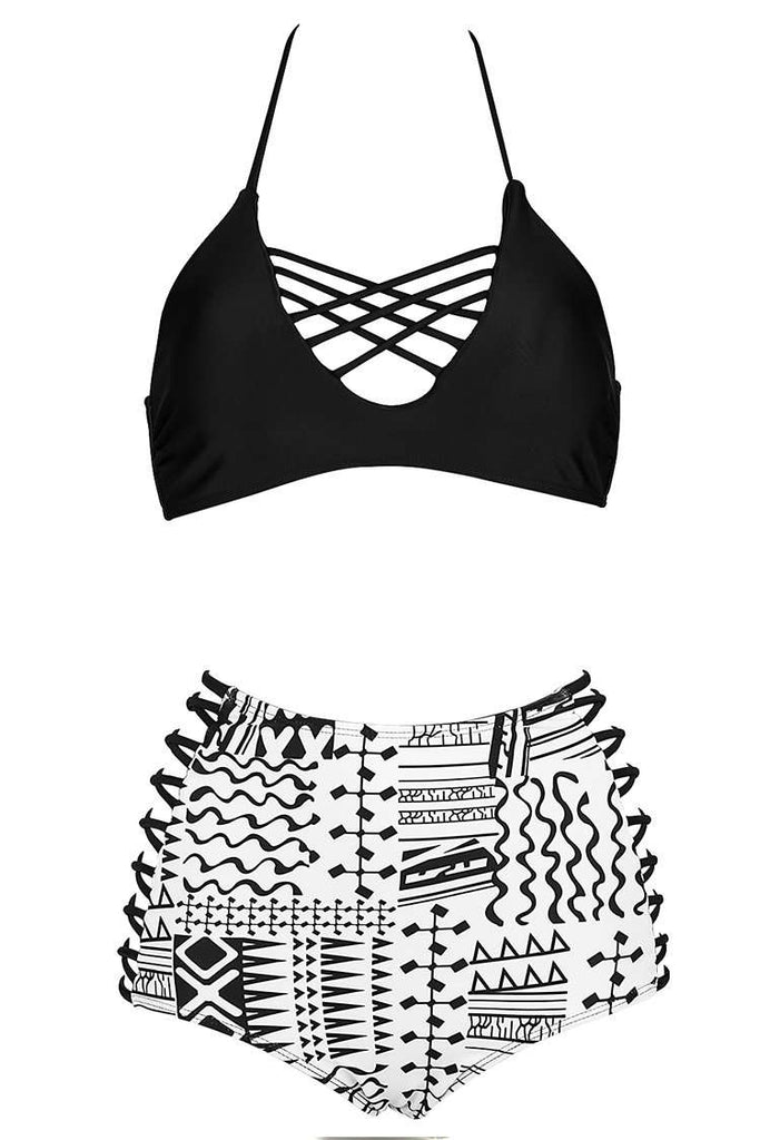 Black and White Tribal Print Strappy Bralette High Waist Bikini Set - Cobunny