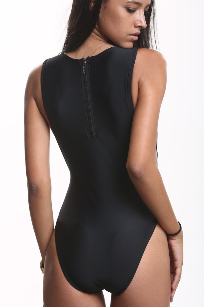 GK014# Solid Zipper Back Tank High Cut One Piece Swimsuit * - Cobunny
