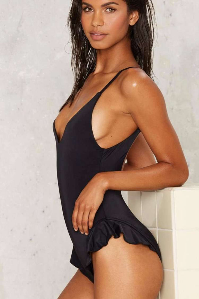 FB559# Black Ruffle Plunge Scoop Back One Piece Swimsuit * - Cobunny