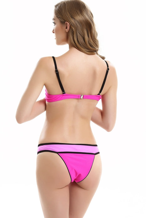 FB715# Multicolor Contrast Binding Push Up Balconette Halter Bikini Set * - Cobunny