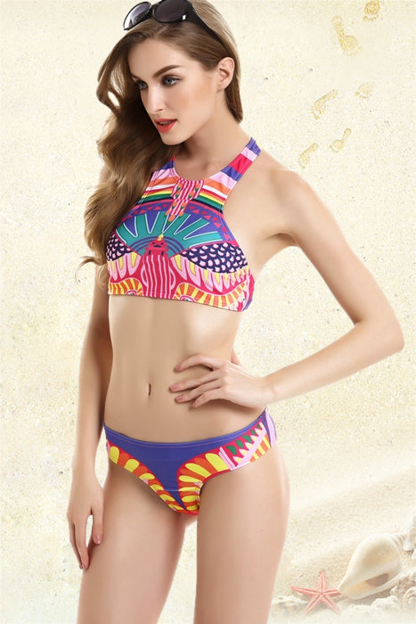 FB728# Colorful Tribal Print High Neck Racerback Crop Tank Bikini Set * - Cobunny