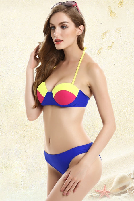 FB801# Tricolor Push Up Balconette Halter Bikini Set * - Cobunny