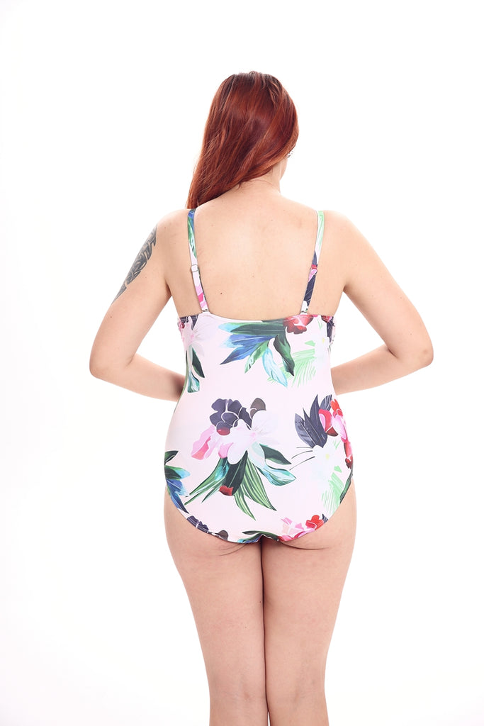 A236# Floral Print Ruched Twist Bandeau One Piece Swimsuit * - Cobunny