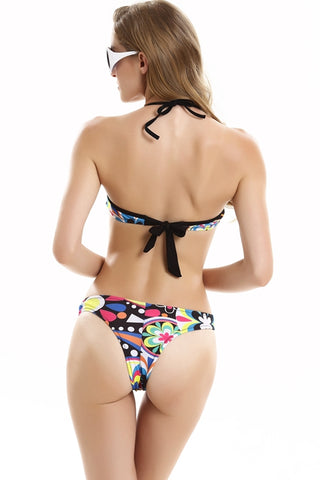 FB760# Cartoon Flowers Print Push Up Twisted Bandeau Bikini Set * - Cobunny