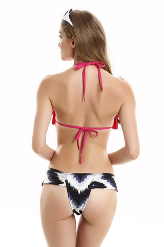 FB763# Rose Red Ruffle Strappy Triangle Top & Watercolor Splash Print Thong Bottom *