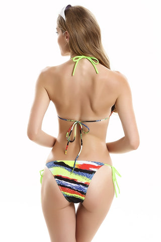 FB726#Colorful Ocean Surface Ruffle Strappy Trim Triangle Halter Bikini Set * - Cobunny