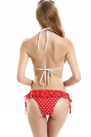 FB764# Ruffle Strappy Triangle Halter Top & Red Polka Dot Bottom *