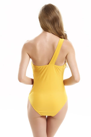 FB657# Khaki Cutout One Shoulder Bandeau One Piece Swimsuit * - Cobunny