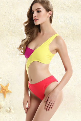 FB745# Tricolor Asymmetric Cut Out One Shoulder Bandeau One Piece Swimsuit * - Cobunny
