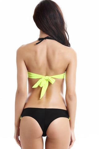 FB741# Tricolor Push Up Demi Cup Bra Halter Thong Bikini Set * - Cobunny
