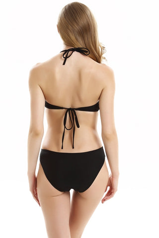 FB793# Black Deep Plunge Cut Out Backless One Piece Swimsuit *