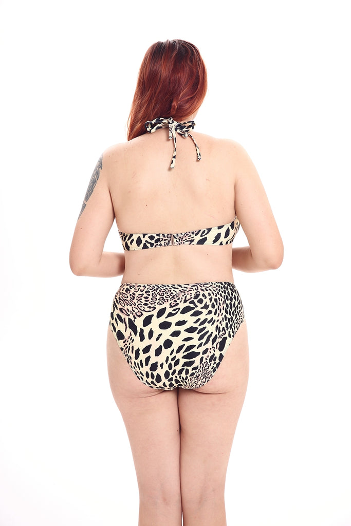 A249# Leopard Print Cut Out High Neck Halter High Waist Bikini Set * - Cobunny