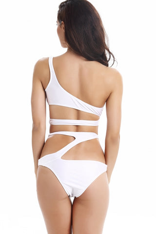 FB708# White Solid Cut Out One Shoulder Bandeau Bikini Set * - Cobunny