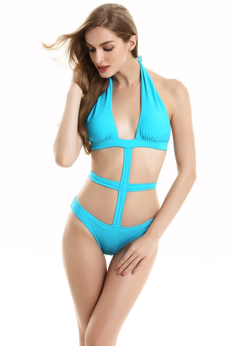 FB661# Solid Cut Out Halter Monokini * - Cobunny